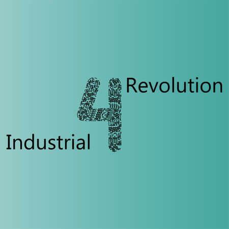 Background of the future on the theme of the fourth industrial revolution. Design with 4IR image and free space for text.
