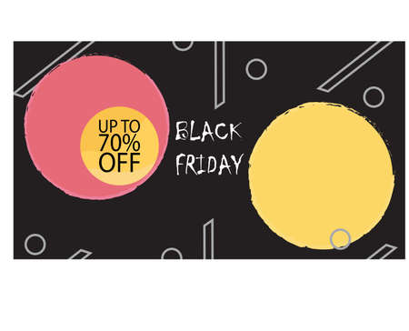 Banner template for sale on black Friday in the dark version. Vector illustration of banner for holiday sale with special offers with bright design. Information about fall in the price of the coupons. Ilustração