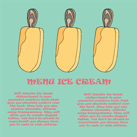 Template for a menu of ice cream in the cafe. Vector illustration of pink ice cream on a stick on an isolated background. Place to write the composition of the product, its cost and name. 02_0 Çizim