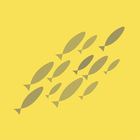Silhouette of a flock of gray fish, confidently pop up on a yellow background. Coloring on the theme of marine fauna. Vector illustration of sea animals to print on textile