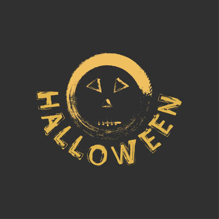 Spooky design for Halloween. Font and scary face in Halloween style. Stylish design in a dark style for printing on clothes and items.