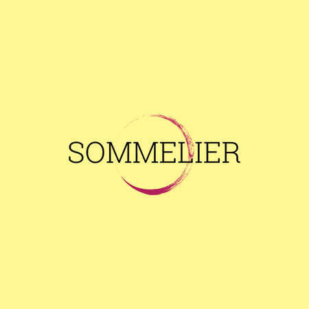The inscription  Your personal sommelier. Vector design of badge or business card for sommelier profession. The round mark of the glass. Wine stain.