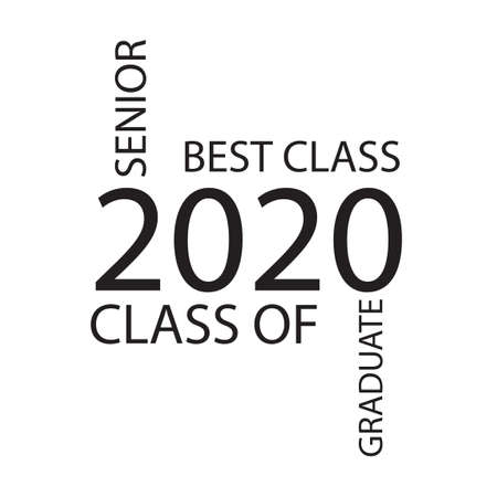 Class of 2020. Stylish graduate design for printing on t-shirts, robes. Vector illustration of College, school graduation for holiday event or party. A graduate of the senior 2020 written gradient gold. Иллюстрация