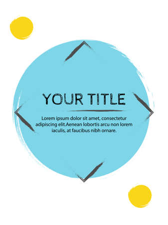 Creative cover design with yellow inserts on a white background. Advertising banner with stylish geometric shapes. Letterhead with space for text with bright colors. Ilustração