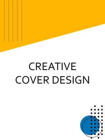 Creative cover design with orange inserts. Corporate banner with stylish geometric yellow shapes. Letterhead with space for text with bright colors.