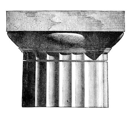 Victorian engraving of a doric column capital. Digitally restored image from a mid-19th century Encyclopaedia. 版權商用圖片 - 42493777