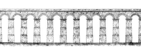 Victorian engraving of a Roman aquaduct. Digitally restored image from a mid-19th century Encyclopaedia.