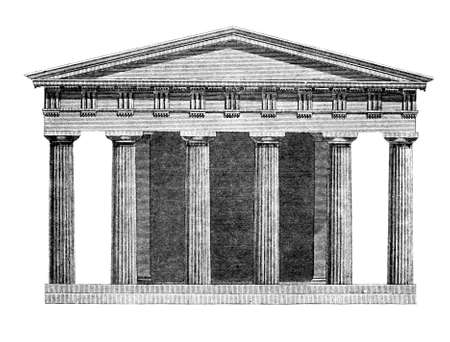 restored: Victorian engraving of the Temple of Hephaestus. Digitally restored image from a mid-19th century Encyclopaedia.