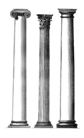 Incisione di colonne greche classiche del 19 ° secolo Archivio Fotografico - 42493791