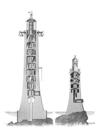 19th century engraving of the old and new Eddystone Lighthouse Stok Fotoğraf