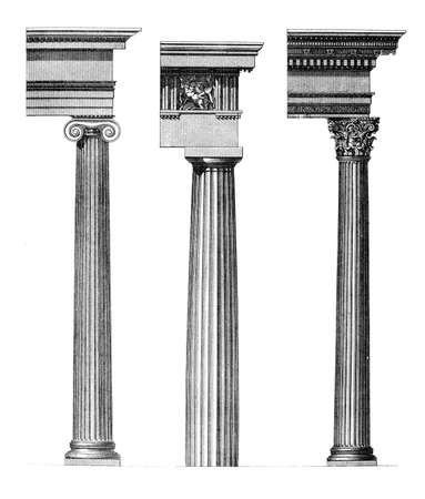 19th century engraving of a Dorid, Ionic and Corinthian column