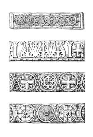 romanesque: Victorian engraving of romanesque designs. Digitally restored image from a mid-19th century Encyclopaedia.