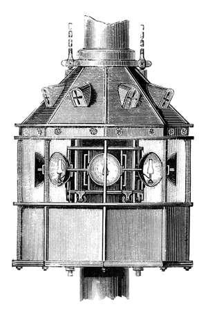 19th century engraving of a lighthouse beacon