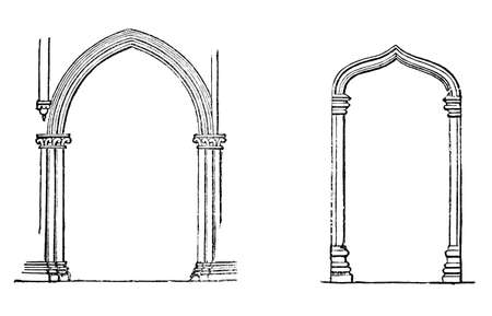 pointed to: Victorian engraving of a pointed and a tudor arch. Digitally restored image from a mid-19th century Encyclopaedia.