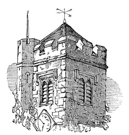 Victorian engraving of a belfry. Digitally restored image from a mid-19th century Encyclopaedia.