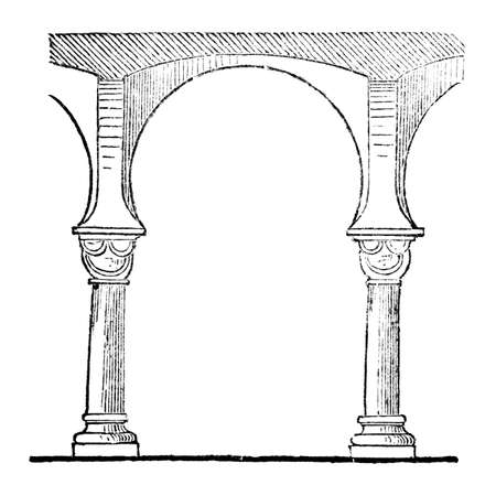 Victorian engraving of a horseshoe arch. Digitally restored image from a mid-19th century Encyclopaedia. 版權商用圖片
