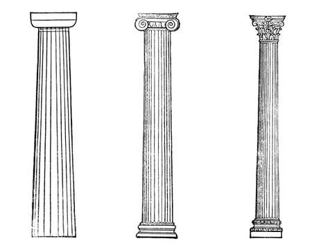 restored: Victorian engraving of ancient Greek columns. Digitally restored image from a mid-19th century Encyclopaedia.