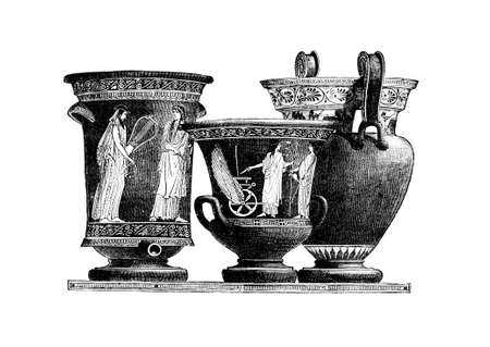restored: Victorian engraving of ancient Greek pottery kraters. Digitally restored image from a mid-19th century Encyclopaedia. Stock Photo