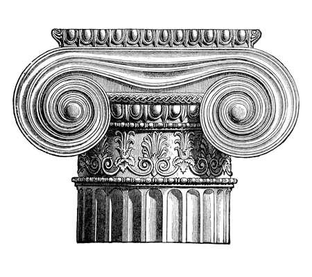 ionic: 19th century engraving o ionic column