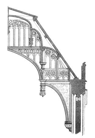 19th century engraving of a section of a flying buttress at Hampton Court Palace