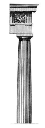 19th century engraving of a Doric column Stock fotó