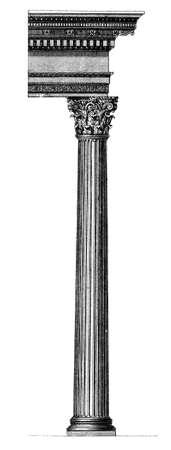 corinthian column: 19th century engraving of a Corinthian column