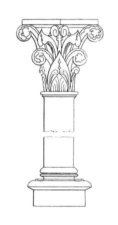 19th century engraving of a moorish column