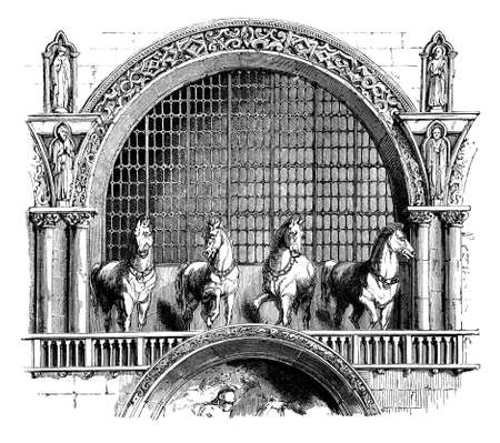 marco: 19th century engraving of details of Cathedral San Marco, Venice, Italy, photographed from a book  titled
