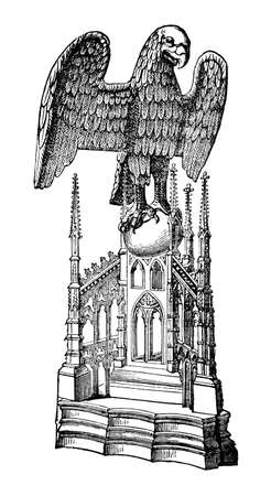 restored: Victorian engraving of an ambo, or pulpit. Digitally restored image from a mid-19th century Encyclopaedia. Stock Photo