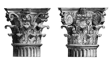 Victorian engraving of Corinthian column capitals. Digitally restored image from a mid-19th century Encyclopaedia.