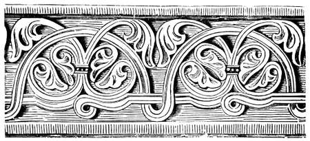 restored: Victorian engraving of an elegant romanesque frieze. Digitally restored image from a mid-19th century Encyclopaedia.