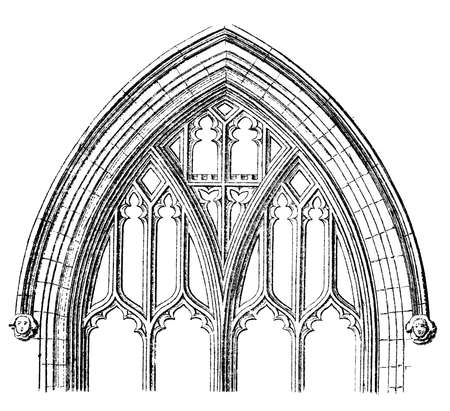 church window: Victorian engraving of a Gothic cathedral window arch. Victorian engraving of a  Digitally restored image from a mid-19th century Encyclopaedia.