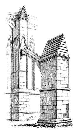 cathedrals: Victorian engraving of a Gothic flying buttress. Digitally restored image from a mid-19th century Encyclopaedia.