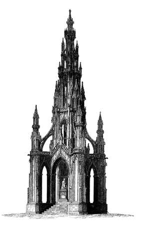 restored: Victorian engraving of a Gothic tower monument. Digitally restored image from a mid-19th century Encyclopaedia.