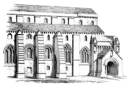 Victorian engraving of a Gothic cathedral. Digitally restored image from a mid-19th century Encyclopaedia.
