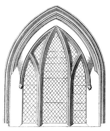 Victorian engraving of a Gothic window arch. Digitally restored image from a mid-19th century Encyclopaedia.