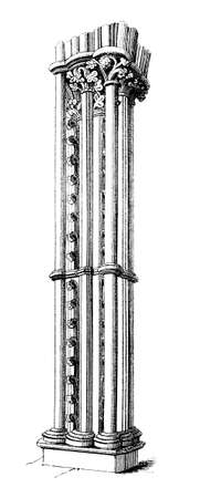 Victorian engraving of a Gothic design pillar. Digitally restored image from a mid-19th century Encyclopaedia.