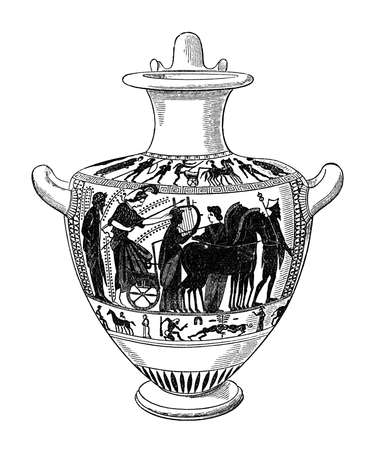 artifact: 19th century engraving of an Attic red figure vase
