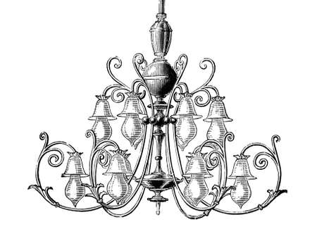 chandelier: 19th century engraving of an ornate chandelier