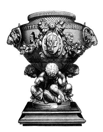 elaborate: 19th century engraving of a majolica vase