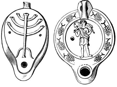 titled: 19th century engraving of decorated Roman lamps, photographed from a book  titled