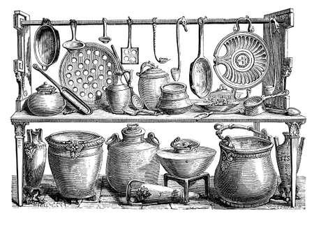 本のタイトルから撮影した、調理器具、ポンペイ、イタリア、ローマの 19 世紀の彫刻