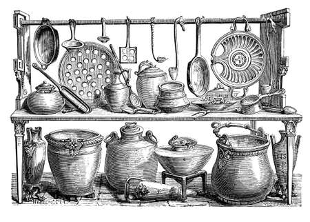 19th century engraving of Roman cooking utensils, Pompeii, Italy, photographed from a book  titled