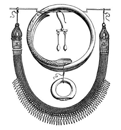 ancient roman: 19th century engraving of ancient Roman jewellery