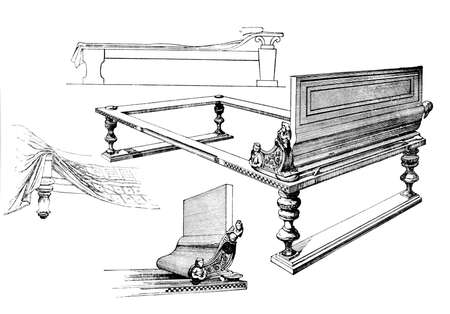 couches: Victorian engraving of the design of classical Greek couches. Digitally restored image from a mid-19th century Encyclopaedia.