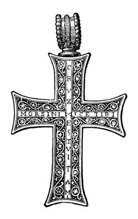 Victorian engraving of an ornate reliquary cross. Digitally restored image from a mid-19th century Encyclopaedia.