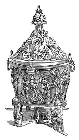 restored: Victorian engraving of a baptism font. Digitally restored image from a mid-19th century Encyclopaedia.
