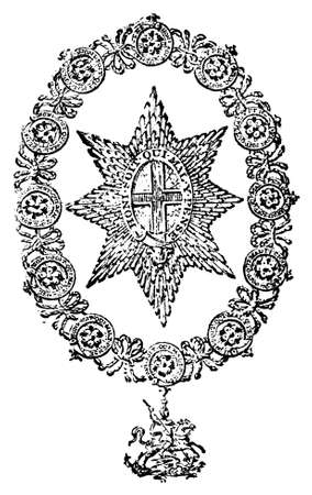 Victorian engraving of the Order of the Garter. Digitally restored image from a mid-19th century Encyclopaedia. Banco de Imagens