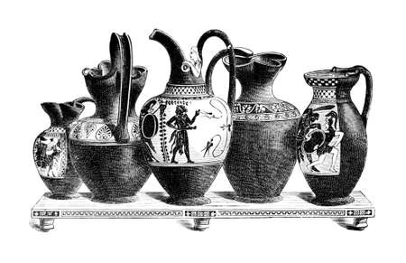 restored: Victorian engraving of Classical greek pottery oinochoe. Digitally restored image from a mid-19th century Encyclopaedia.