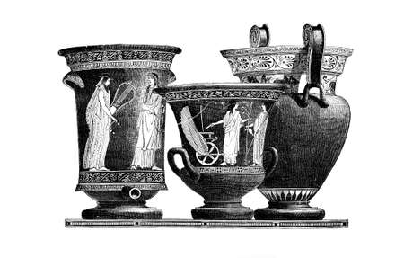 restored: Victorian engraving of Classical greek pottery kraters. Digitally restored image from a mid-19th century Encyclopaedia. Stock Photo
